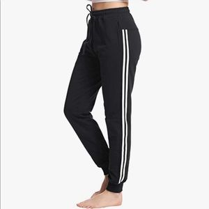 Black Joggers with White Stripes Size Small
